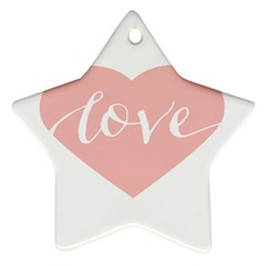 Love Valentines Heart Pink Star Ornament (Two Sides)