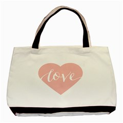 Love Valentines Heart Pink Basic Tote Bag (Two Sides)