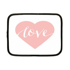 Love Valentines Heart Pink Netbook Case (Small)