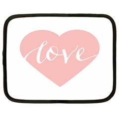 Love Valentines Heart Pink Netbook Case (Large)