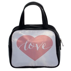 Love Valentines Heart Pink Classic Handbags (2 Sides)