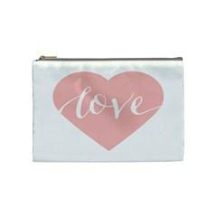 Love Valentines Heart Pink Cosmetic Bag (Medium)