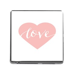 Love Valentines Heart Pink Memory Card Reader (square)