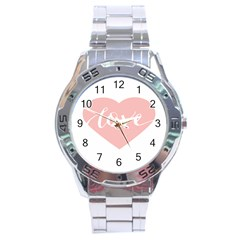Love Valentines Heart Pink Stainless Steel Analogue Watch
