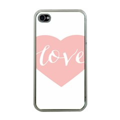 Love Valentines Heart Pink Apple Iphone 4 Case (clear)