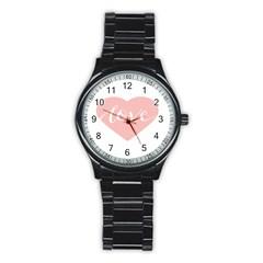 Love Valentines Heart Pink Stainless Steel Round Watch