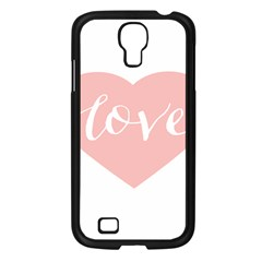 Love Valentines Heart Pink Samsung Galaxy S4 I9500/ I9505 Case (Black)