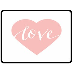 Love Valentines Heart Pink Double Sided Fleece Blanket (Large)