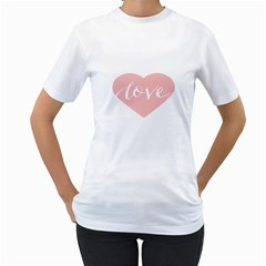 Love Valentines Heart Pink Women s T-Shirt (White)