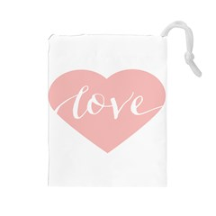 Love Valentines Heart Pink Drawstring Pouches (Large)