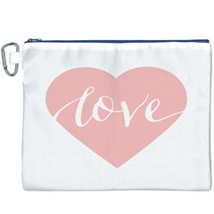 Love Valentines Heart Pink Canvas Cosmetic Bag (XXXL)