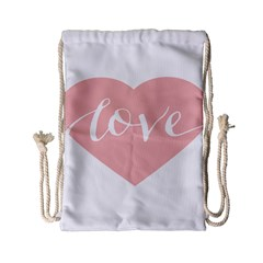 Love Valentines Heart Pink Drawstring Bag (Small)