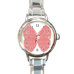 Hearts Butterfly Red Valentine Love Round Italian Charm Watch