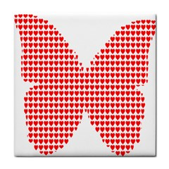 Hearts Butterfly Red Valentine Love Tile Coasters