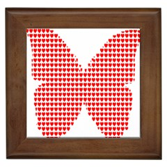 Hearts Butterfly Red Valentine Love Framed Tiles