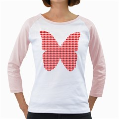 Hearts Butterfly Red Valentine Love Girly Raglans