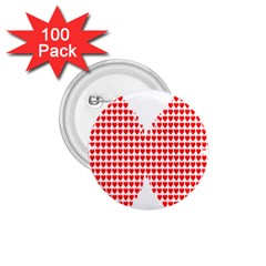 Hearts Butterfly Red Valentine Love 1 75  Buttons (100 Pack)