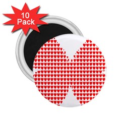 Hearts Butterfly Red Valentine Love 2.25  Magnets (10 pack)