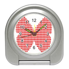 Hearts Butterfly Red Valentine Love Travel Alarm Clocks