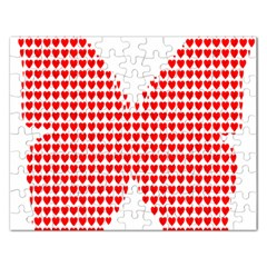 Hearts Butterfly Red Valentine Love Rectangular Jigsaw Puzzl