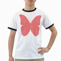 Hearts Butterfly Red Valentine Love Ringer T Shirts