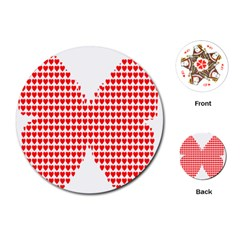 Hearts Butterfly Red Valentine Love Playing Cards (Round)