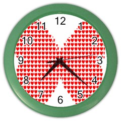 Hearts Butterfly Red Valentine Love Color Wall Clocks