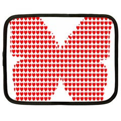 Hearts Butterfly Red Valentine Love Netbook Case (Large)