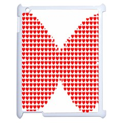 Hearts Butterfly Red Valentine Love Apple iPad 2 Case (White)