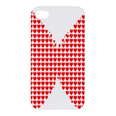 Hearts Butterfly Red Valentine Love Apple iPhone 4/4S Premium Hardshell Case