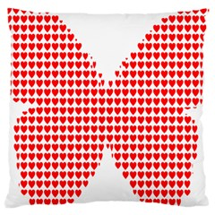 Hearts Butterfly Red Valentine Love Large Cushion Case (One Side)