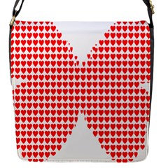 Hearts Butterfly Red Valentine Love Flap Messenger Bag (S)