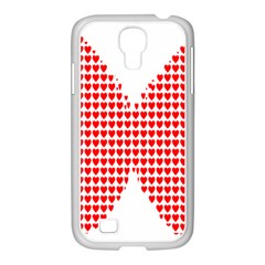 Hearts Butterfly Red Valentine Love Samsung GALAXY S4 I9500/ I9505 Case (White)