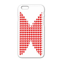 Hearts Butterfly Red Valentine Love Apple iPhone 6/6S White Enamel Case