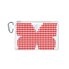 Hearts Butterfly Red Valentine Love Canvas Cosmetic Bag (S)