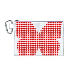 Hearts Butterfly Red Valentine Love Canvas Cosmetic Bag (M)