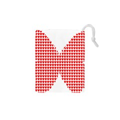Hearts Butterfly Red Valentine Love Drawstring Pouches (xs)