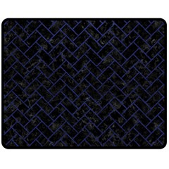 Brick2 Black Marble & Blue Leather Fleece Blanket (medium)
