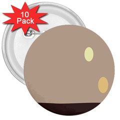 Minimalist Circle Sun Gray Brown 3  Buttons (10 Pack)