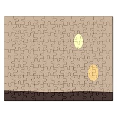 Minimalist Circle Sun Gray Brown Rectangular Jigsaw Puzzl