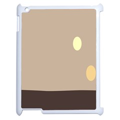 Minimalist Circle Sun Gray Brown Apple iPad 2 Case (White)