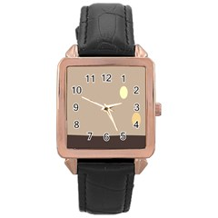 Minimalist Circle Sun Gray Brown Rose Gold Leather Watch