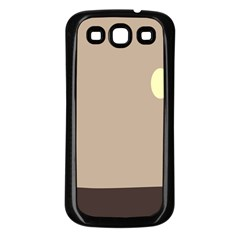 Minimalist Circle Sun Gray Brown Samsung Galaxy S3 Back Case (Black)