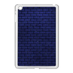Brick1 Black Marble & Blue Leather (r) Apple Ipad Mini Case (white)