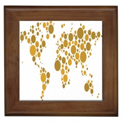 Map Dotted Gold Circle Framed Tiles