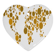 Map Dotted Gold Circle Ornament (Heart)