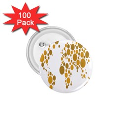 Map Dotted Gold Circle 1.75  Buttons (100 pack)