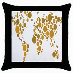 Map Dotted Gold Circle Throw Pillow Case (Black)
