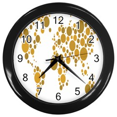 Map Dotted Gold Circle Wall Clocks (black)