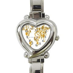 Map Dotted Gold Circle Heart Italian Charm Watch